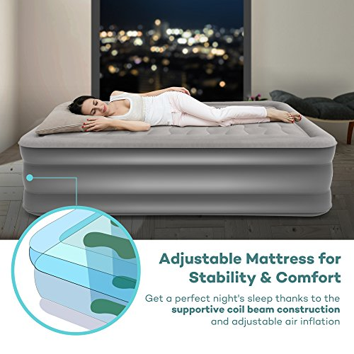 Sable Upgraded Queen Size Air Mattress, Raised Inflatable Airbed with Built-in Electric Pump and Storage Bag, Height 20''