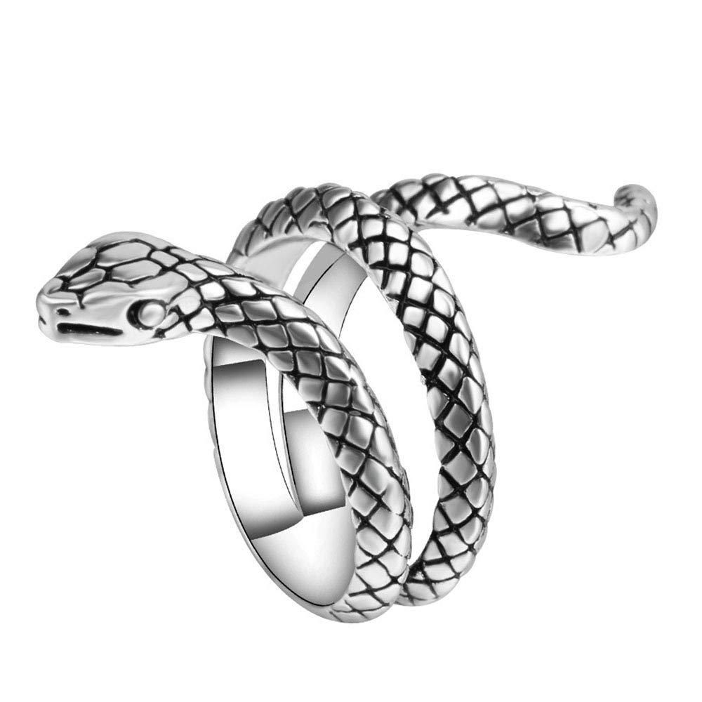 Cinlan 925 Sterling Silver Cobra Shaped Ring Open Ring Temperament Snake Vintage Ring