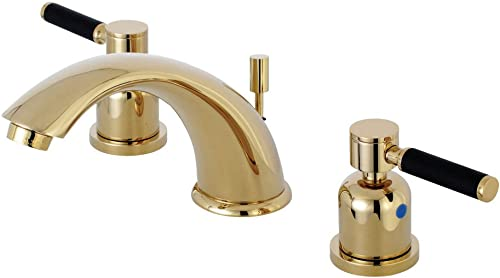 Kingston Brass KB8962DKL Kaiser 8 Widespread Lavatory Faucet with Retail Pop-Up, Polished Brass
