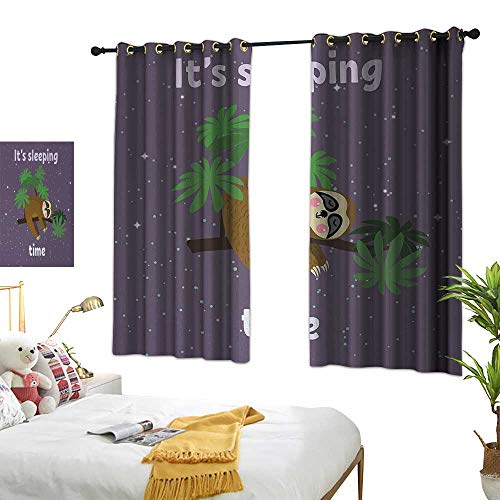 Printed Curtain Sloth Cute Cartoon Character Sleeping on Branch Jungle Animal in Night Sky Kids Theme W55 xL39 Plum Brown Green Suitable for Bedroom Living Room Study,etc.