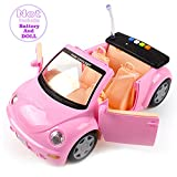 battery barbie car - Convertible Door-Open Princess Car For Barbie Doll(Pink).-By Songwin