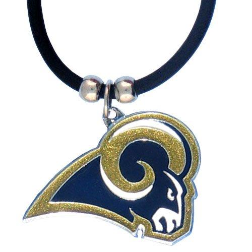 NFL St. Louis Rams Rubber Cord Logo Necklace (Louis Rams Logo Pendant)