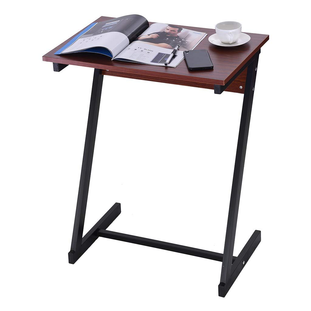 shamoluotuo Sofa Side End Table Z Shaped Telephone Table Laptop Holder, End Stand Desk Coffee Tray Side Table, Home Office Notebook Tablet Beside Sofa Portable Workstation (23.6x15.7x29.5 inch, Wine) by shamoluotuo-Furniture