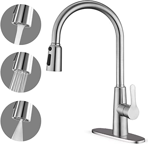 CORYSEL Kitchen Faucet with Pull Down Sprayer, Unique 3 Water Effect High Arc Brushed Nickel Finish, Stainless Steel Single Handle Pull Out Kitchen Sink Faucets with Removable Escutcheon