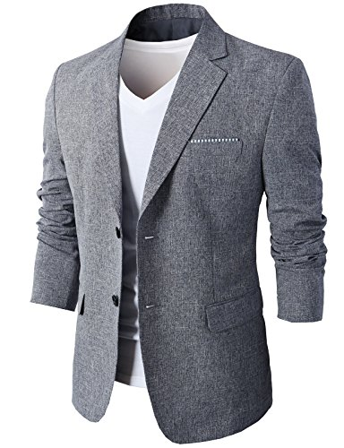 - H2H Mens Formal Smart Suit Blazer with Flap Pockets Navy US M+/Asia 2XL (KMOBL0107)