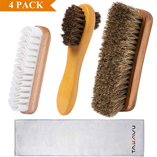 TAKAVU Shoe Shine Kit (4PCS) - 100% Soft Horsehair Bristles Brush, Polish Applicator, Crepe Suede Shoes Brush, Microfiber Buffing Cloth for Shoes, Leather, Boot, Cloth, Bag (Small Shoe Shine Kit)