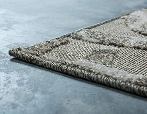 Unique Loom Outdoor Modern Collection Carved Botanical Transitional Indoor and Outdoor Flatweave Cream Area Rug 9' 0 x 12' 0