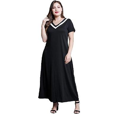 3568f364cb2 Womens Plus Size Black Maxi Dresses Casual Cotton Plus Size Summer Crew  Neck Sleeveless Long Tank