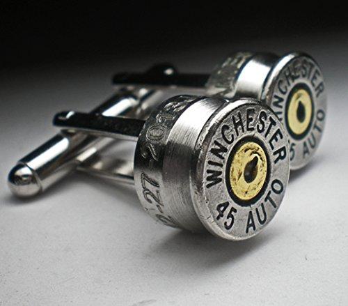 45 ACP Auto Nickel Bullet Engraved Personalized Bullet Cufflinks Wedding Gift Groomsman Best Man Best Man Wedding Cufflinks