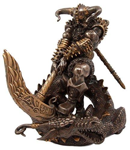Atlantic Collectibles Thor Ragnarok Figurine Norse Mythology God Of Lightning Slaying Midgard Dragon With Mjolnir Hammer Donar Son Of Odin Asgard Ruler 7.75