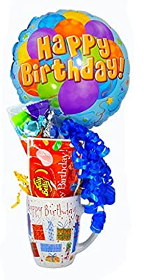 Birthday Wish with a Bag of Beans - Happy Birthday Mug, Candy Bag, Bag of Birthday Beans: by Jelly Belly, & Birthday Balloon