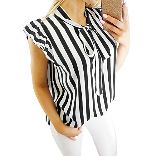 Women Blouse HGWXX7 Tie-Bow Neck Striped Long Sleeve Splicing Business Attire Shirt Tops Blouse (M, Tank Top-Black)