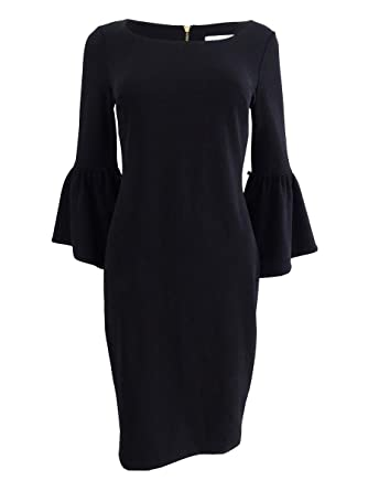 dba5735e Calvin Klein Women's Ruffle Bell Sleeve Sheath With Contrast Lining In Sleeve  CD8C14GY Black/White