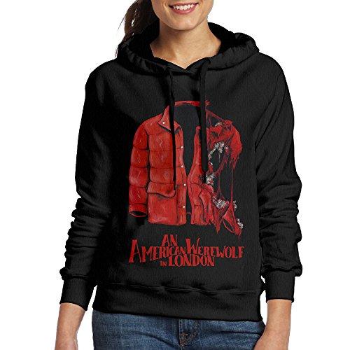 FUOALF Women's Pullover An American Werewolf Coat Hooded Sweatshirt Black M