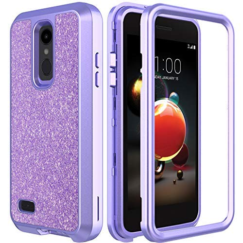 AMENQ Case for LG Aristo 2/LG Tribute Dynasty/LG Aristo 3/LG Rebel 3 LTE L158VL/LG Rebel 4/LG Phoenix 4 Glitter Sparkle 3 in 1 Design Heavy Duty with Rubber TPU Bumper and PC Protective Armor Case