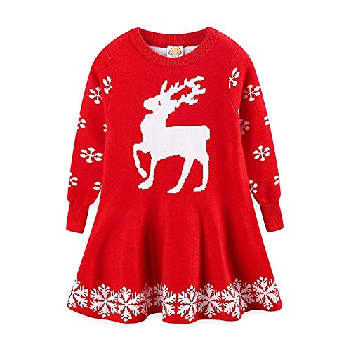 (C&M Wodro Little Girls Christmas Dress Reindeer Snowflake Xmas Gifts Winter Knit Sweater Dresses (Red, Size 100 (2-3 Years)))