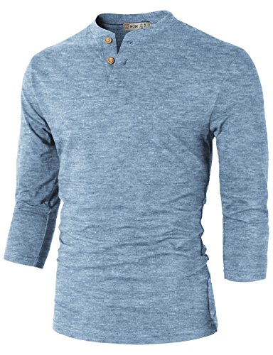 3/4 Sleeve Henley Tee - H2H Mens Slim Fit Casual 3/4 Sleeve Henley T-Shirts SkyBlue US L/Asia XL (CMTTS0194)