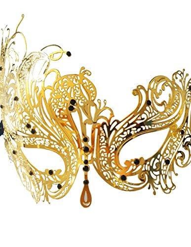 WINK KANGAROO Women's Laser Cut Metal Venetian Pretty Masquerade Masks (Phoenix Style, Gold/black) (Masquerade Masks Gold)