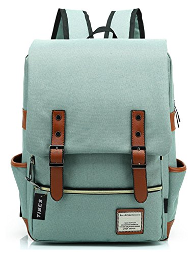 TIBES Lightweight Laptop Bag School Backpack for College Light Green