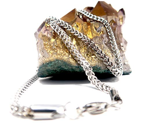 """White Gold Franco Rope Chain Necklace 2.5MM Box Diamond Cut Jewelry Gift Men Women Charms Strong W/Solid Strong Clasp add own Pendant or Charms. 16""""-22"""" (20)"""