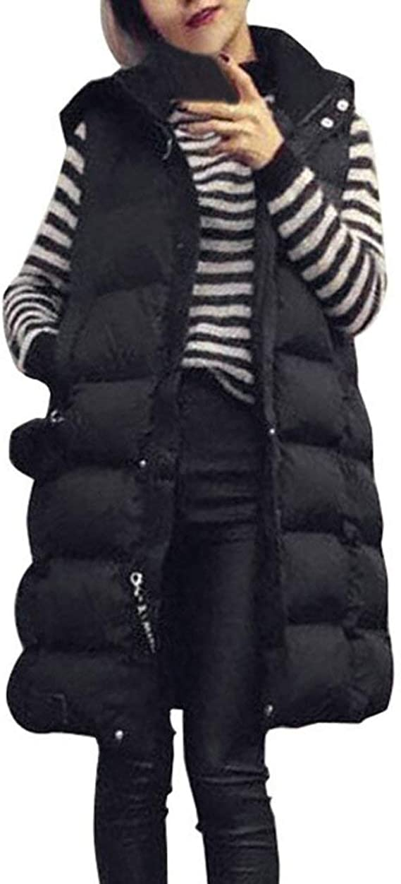 LVYING Womens Cotton Padded Quilted Zip Vest Lightweight Thickened Outwear Jacket Long Down Puffer Vest