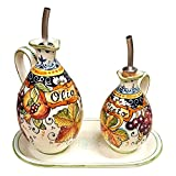 CERAMICHE D'ARTE PARRINI - Italian Ceramic Set Cruet Oil And Vinegar Art Pottery Hand Painted Made in ITALY Tuscan
