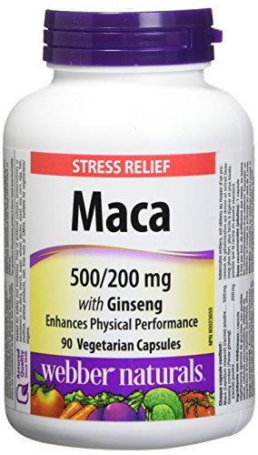Webber Naturals Maca with Ginseng Vegetarian Capsule, 500mg