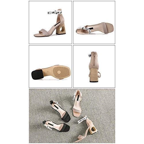 tacón Verano Tacón Moda Zapato Head alto Eastlion Negro hueco Sandalias de 7cm sandalias mujer para Square SOzzqW4