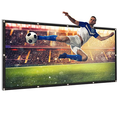 - 100 inch Projector Screen 16:9 HD Portable Foldable Anti-Crease Movies Screen for Indoor Outdoor Home Theater Front and Rear Projection (100 inch)