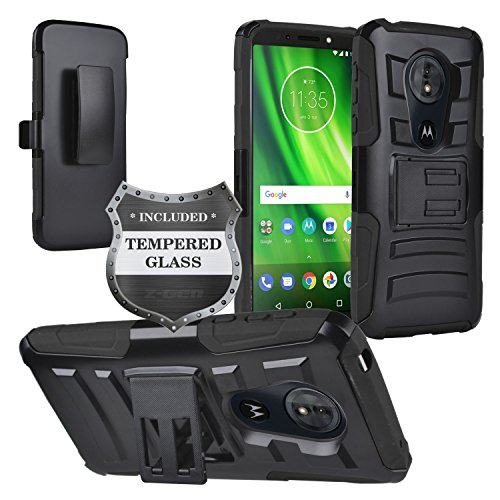 Motorola Moto G6 Play, Moto G6 Forge XT1922, Moto E5 (5.7) XT1920DL - Hybrid Armor Case w/Stand/Belt Clip Holster + Tempered Glass Screen Protector - CV1 Black