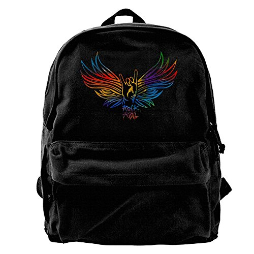 Rock And Roll Hand Unisex Classic Canvas Travel Backpack Rucksack Daypack
