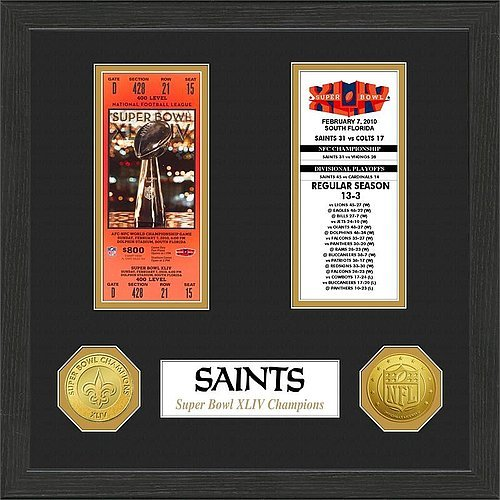 New Orleans Saints Super Bowl Ticket Collection Plaque - Licensed NFL Football Merchandise