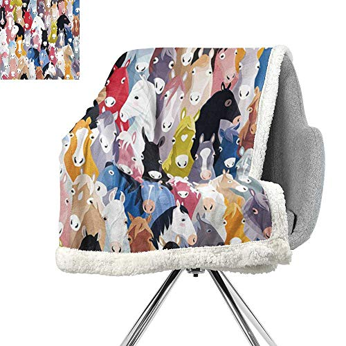 ScottDecor Horses Abstract Berber Fleece Blanket,Pattern with Colourful Cartoon Horses Pony Childhood Childish Artwork Pattern,Fabric,Coverlet W59xL31.5 Inch Pink Blue Green