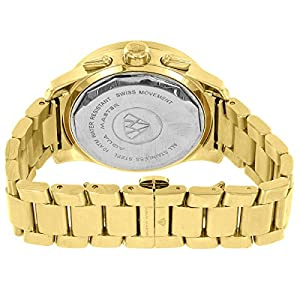 Aqua Master Watch Stainless Steel Gold Finish 8CT Genuine Diamond 3 Timezones Analog Display On Sale