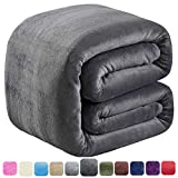 "SOFTCARE Soft Queen Size Blanket for Fall Winter Spring All Season 350GSM Thicken Warm Fuzzy Microplush Lightweight Thermal Fleece Summer Autumn Blankets for Couch Bed Sofa Dark Gray 90"" 90"""