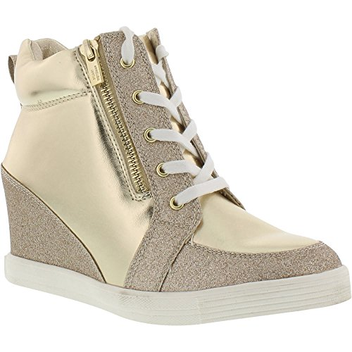 Price comparison product image Stuart Weitzman Girls' Vance Zipper Sneaker, Champagne Gold/Metallic, 3 M US Little Kid
