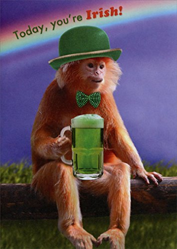 Price comparison product image Monkey with Beer - Designer Greetings Funny St. Patrick's Day Card