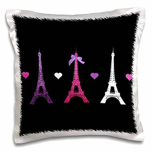 OneMtoss Decorative Silk Pillow Cover Girly Eiffel Tower - hot Pink Purple Black Paris Towers Love Hearts Stylish French Modern France 26X26 Inch -