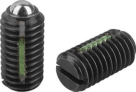 K0321.06 Long-Lok Metric Kipp 03001-06 Steel Spring Plungers with Standard End Pressure Slotted M6 Thread Ball Style Pack of 10 Black Oxide Finish KIPP Inc