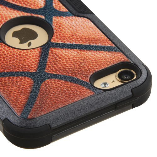Apple iPod Touch 5 5th Gen / 6 6th Gen Case, Kaleidio [Natural TUFF] Rugged Dual Layer Hybrid Cover [Includes a Overbrawn Prying Tool & Stylux Stylus] [Basketball Design] (Ipod 5 Cases Made By Mybat)