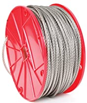 Koch 016211 Cable, 7 by 19 Construction, Trade Size 1/4 by 125 Feet, Stainless Steel