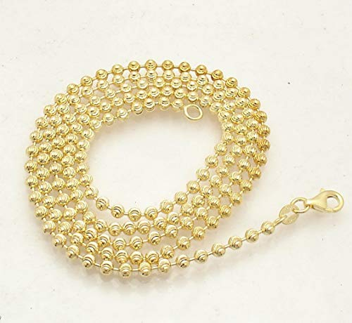 Hemau 3mm Moon Cut Ball Bead Chain Necklace Solid 14K Yellow Gold Clad 925 Silver | Model NCKLCS - 1518 | 24