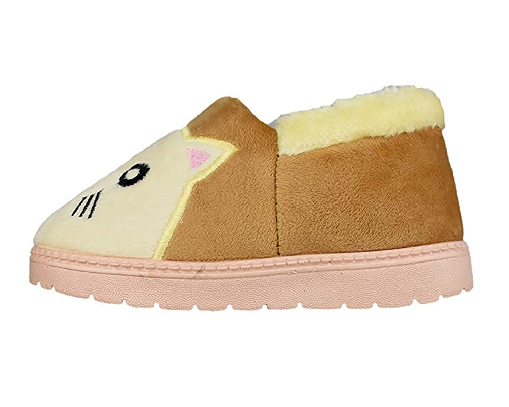 Kids Warm Plush Cat Slippers Hard Sole Cute Animal Indoor Outdoor Slip-on Shoes