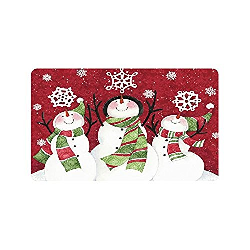 Merry Christmas Cute Snowman Custom Doormat Entrance Mat Floor Mat Rug Indoor/Outdoor/Front Door/Bathroom Mats Rubber Non Slip Size 30 x 18 inches
