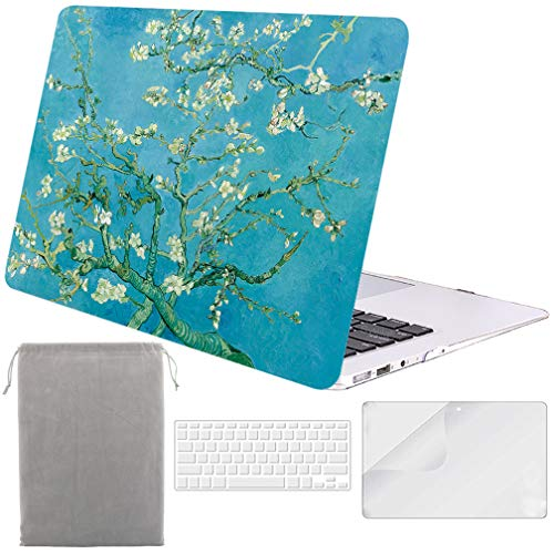 - Sykiila for MacBook Air 13 Inch Case (for 2010-2017 Old Version,Model:A1369 / A1466) Hard Cover 4 in 1 Folio Case + HD Screen Protector + TPU Keyboard Cover + Sleeve - Almond Tree
