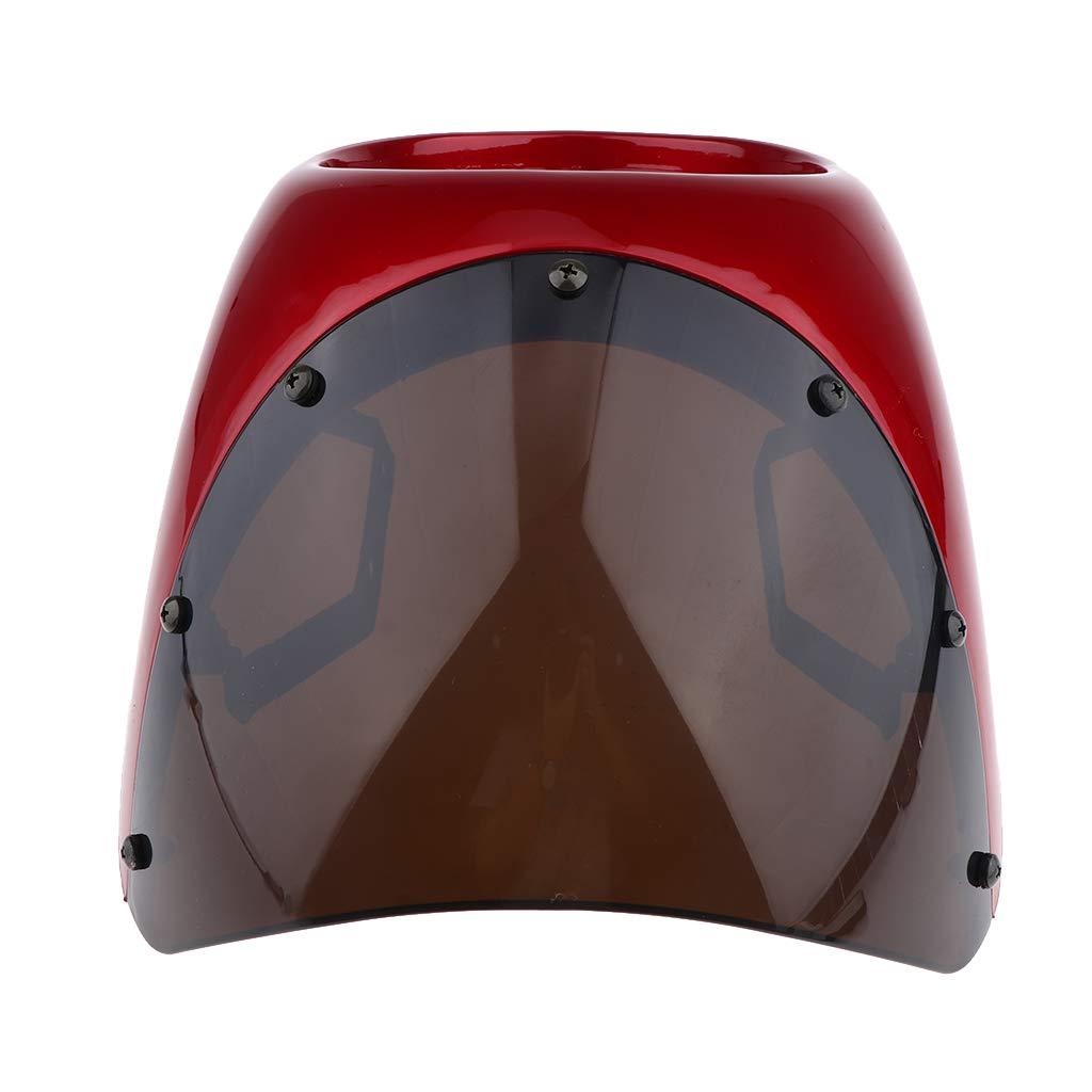 Rouge Almencla Car/énage de Phare de Moto T/ête de Fourche Plaque Phare de Moto Eclairage Route 34x28x23cm Fum/ée