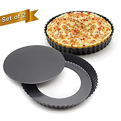 Marx Set of 2, Non-stick 8.8 inch Pizza Pan, Quiche Pan With Removable Bottom, Removable Loose Bottom Quiche Pan, Tart Pie Pan