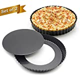 Marx® Set of 2, Non-stick 9 inch Pizza Pan, Quiche Pan With Removable Bottom, Removable Loose Bottom Quiche Pan, Tart Pie Pan
