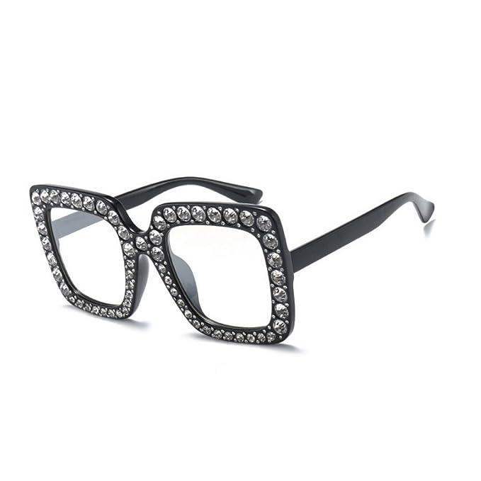 9bda800196f MINCL Oversized Diamond Sunglasses Women Handmade Square Glasses Frame  Eyewear 67mm UV400 (black clear)  Amazon.co.uk  Clothing