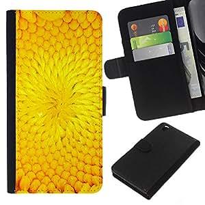 KLONGSHOP // Tirón de la caja Cartera de cuero con ranuras para tarjetas - Pétalo de la flor del girasol del verano - HTC DESIRE 816 //